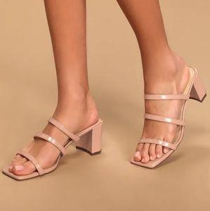 NWOT Nude Patent High Heel Sandals